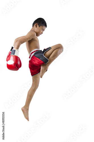 Foto op Plexiglas Vechtsport thai boxer with thai boxing action