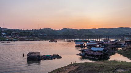 Timelapse day to night of way of life at Samprasob river,Karncha