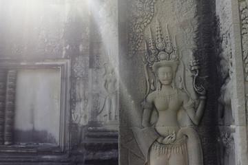 Beautiful Apsara Dancers Stone Carving, Angkor Wat, Cambodia