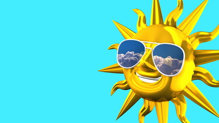 Golden Smiling Sun With Sunglasses On Blue Text Space