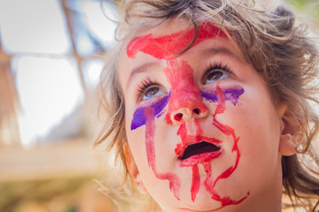 young kid - girl - with painted face, child zombie face art