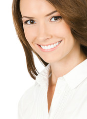 Portrait of smiling young businesswoman, on white