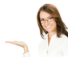Business woman showing something or holding, on white