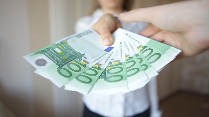 Take and count money euro