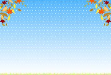 紅葉と青空 ドット背景