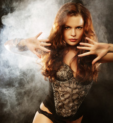 elegance lady in the lingerie dancing