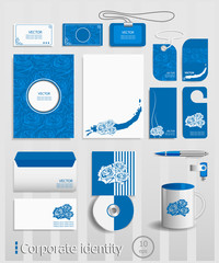 Business cards collection with roses concept design.
