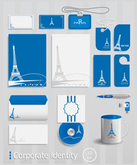 Business cards collection with Paris concept design