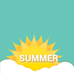 flat summer sign or label. abstract background