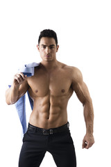 Handsome Shirtless Muscular Man With Shirt on Shoulder