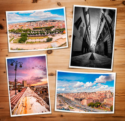 Composite collage of four printed photos from Cagliari