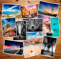 Composite collage of various printed photos
