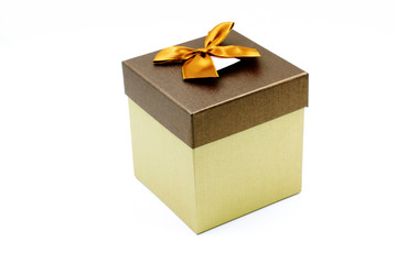 A Gift Box with Golden Ribbon and Bow