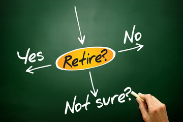 The risk to take the retirement, decide diagram on blackboard