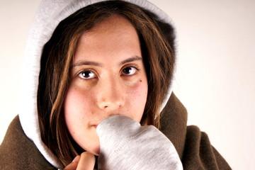 Girl with sweatshirt and scarf