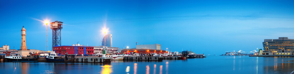 evening panorama of Port Vell