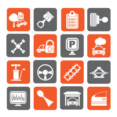 Silhouette Car parts and services icons - vector icon set 2