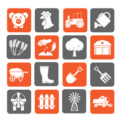 Silhouette Agriculture and farming icons - vector icon set