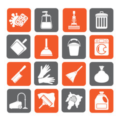 Silhouette Cleaning and hygiene icons - vector icon set