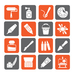 Silhouette Painting and art object icons - vector icon set