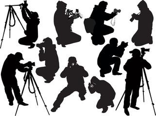 illustration with ten photographers on white