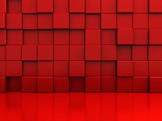 Red Abstract Blocks Wall Background