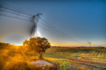 pylon under a clearsky at sunset in hdr