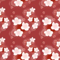 桜パターン赤