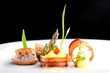 Fine dining, Gourmet food ham egg bread