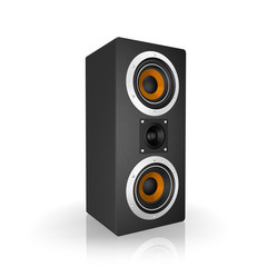Black Tall Loudspeaker, isolated on a white background