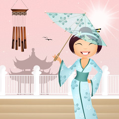 illustration of Geisha with umbrella