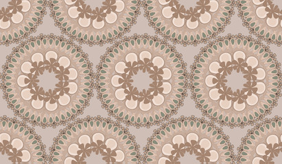 Round floral vector ornament beige monochrome shades.