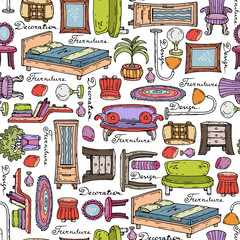 Vector pattern with hand drawn furniture and elements of decor