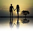 Leinwanddruck Bild - Adam and Eve in the eden