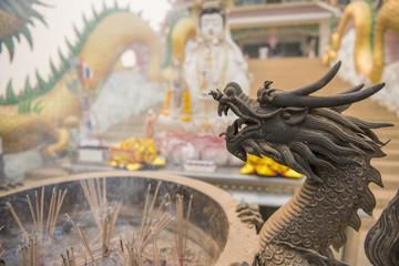 Chinese joss stick pot and dragon statue