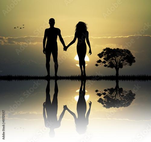 Leinwanddruck Bild Adam and Eve in the eden