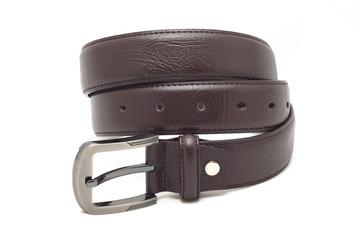 Leather belt for men on white background.