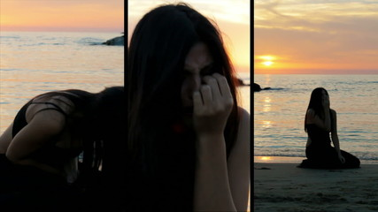 Woman desperate crying on the beach split screen montage