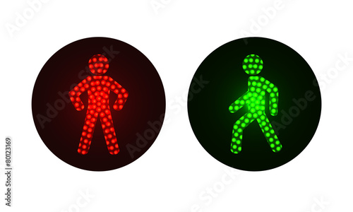 pedestrian traffic lights red and green.
