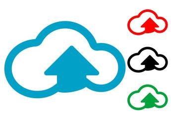 Pictograma subir a la nube en varios colores
