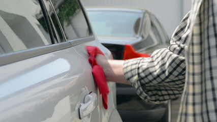 Car Care - polishing a white car