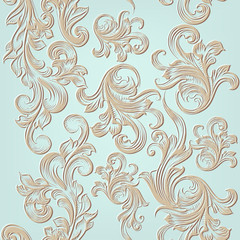 Vector seamless pattern with engraved ornament