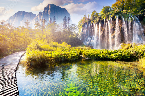 waterfall with turquoise water - 80123945