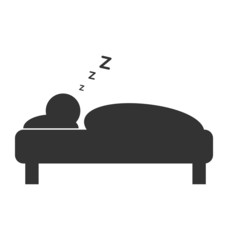 Flat sleep icon isolated on white background