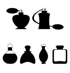 Set of flat woman perfume isolated on white background