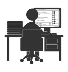 Flat office computer icon with chat isolated on white background