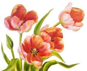 Vintage red tulips.