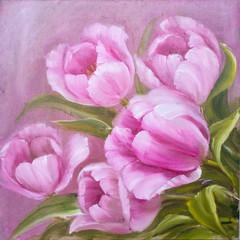 Vintage pink tulips.