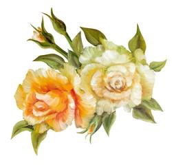 Vinage white yellow roses.