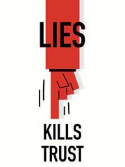 Words LIES KILLS TRUST